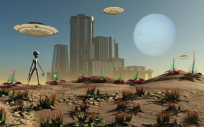 Grey Aliens On A Distant Homeworld Art Print by Mark Stevenson