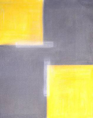 Modern Man Rap Music - Dilapidated - Grey and Yellow Abstract Art Painting by CarolLynn Tice