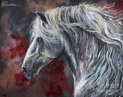 Long Mane Painting - Grey Andalusian Horse Oil Painting 2013 11 26 by Angel  Tarantella