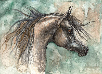 Arabian Mixed Media - Grey Arabian Horse 2014 02 18 by Angel  Tarantella