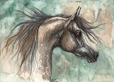 Arabian Horses Mixed Media - Grey Arabian Horse 2014 02 18 by Angel  Tarantella