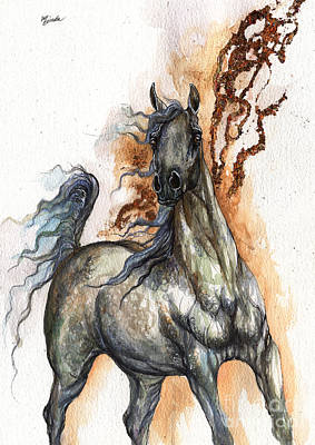 Arabian Mixed Media - Grey Arabian Horse 2014 11 01 by Angel  Tarantella