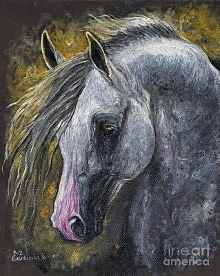 Grey Arabian Horse Oil Painting 1 Original