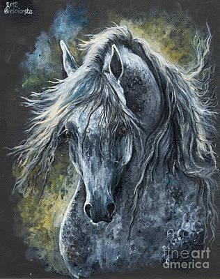 Grey Arabian Horse Oil Painting 2 Original