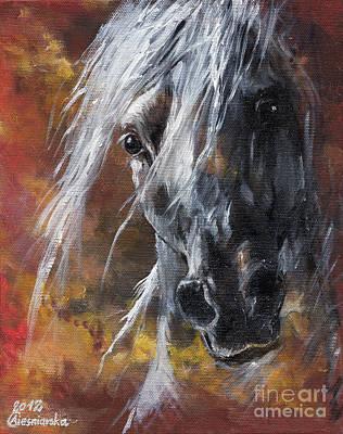 Grey Arabian Horse Oil Painting 3 Art Print