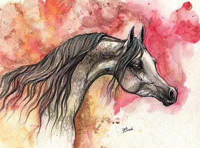Grey Arabian Horse On Red Background 2013 11 17  Original by Angel  Tarantella