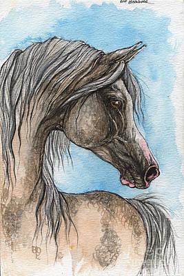 Grey Arabian Horse Watercolor Painting 5 Original by Angel  Tarantella