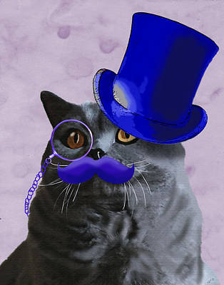 Grey Cat With Blue Moustache And Tophat Art Print by Kelly McLaughlan