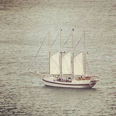 Gray Day And A Tall Ship Art Print