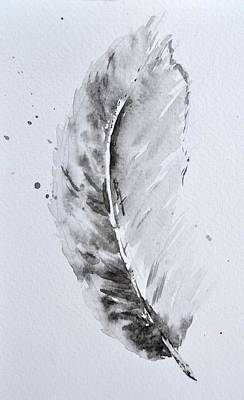 Found Object Painting - Grey Feather Position B by Beverley Harper Tinsley
