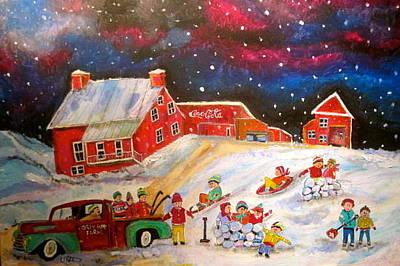 Snowball Fort Painting - Grey Fox Farm Winter by Michael Litvack