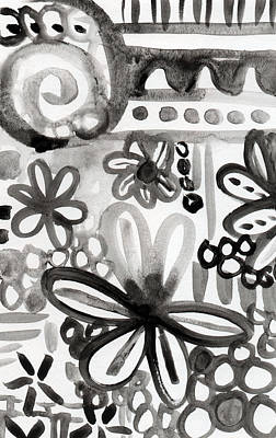 Florals Royalty-Free and Rights-Managed Images - Grey Garden- abstract floral painting by Linda Woods
