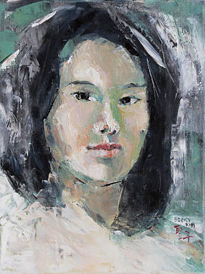 Painting - Grey Hair -self Portait Under Natural Window Light by Becky Kim