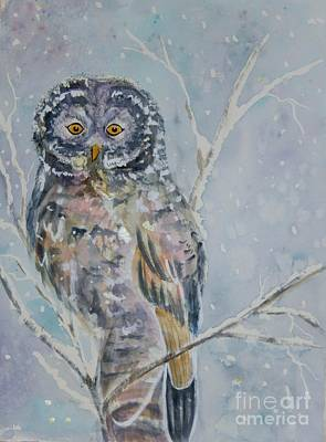 Painting - Great Gray Owl On A Snowy Day by Ellen Levinson