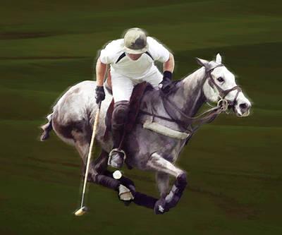 Polo Pony Painting - Grey Polo Pony At Full Run by Elaine Plesser