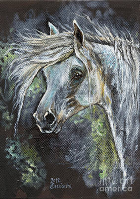 Abstract Airplane Art - Grey Pony with long mane oil painting by Angel Ciesniarska