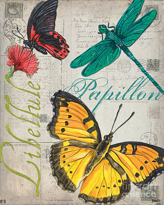 Grey Postcard Butterflies 3 Print by Debbie DeWitt