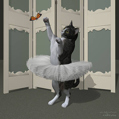Grey Tabby Ballet Cat On Paw-te Art Print by Andre Price