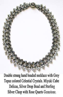 Delica Beads Jewelry - Grey Topaz Crystal Beaded Necklace by Jennie Breeze