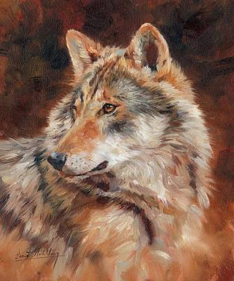 Animals Paintings - Grey Wolf Portrait by David Stribbling