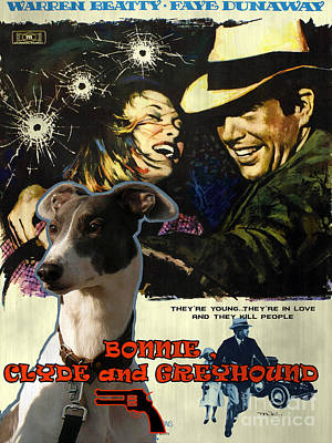 Painting - Greyhound Art Canvas Print - Bonnie And Clyde Movie Poster by Sandra Sij