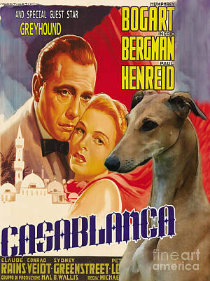 Greyhound Painting - Greyhound Art - Casablanca Movie Poster by Sandra Sij