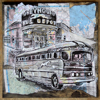 Old Bus Stations Drawing - Greyhound Bus by Alexa Nelipa
