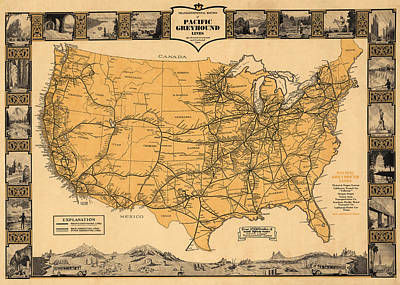 Greyhound Photograph - Greyhound Bus Line Map 1935 by Andrew Fare