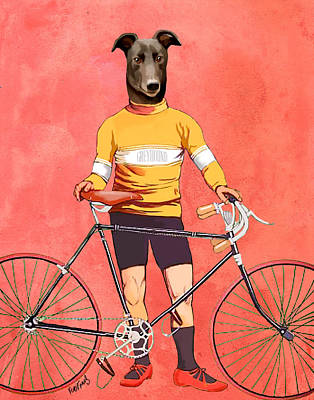 Greyhound Cyclist Art Print