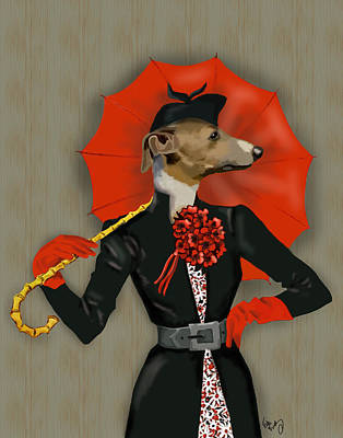 Greyhound Elegant Red Umbrella Art Print