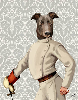 Greyhound Fencer White Portrait Art Print