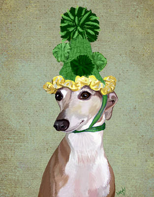 Greyhound Green Bobble Hat Print by Kelly McLaughlan