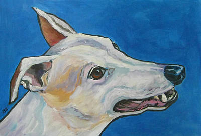 Painting - Greyhound In Profile - Chinook by Janet Burt
