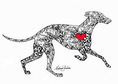 Drawing - Greyhound by Melissa Sherbon