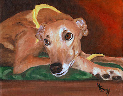 Painting - Greyhound Pout by Mary Jo Zorad