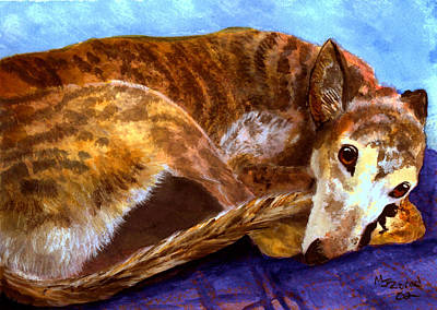 Painting - Greyhound Print  by Mary Jo Zorad