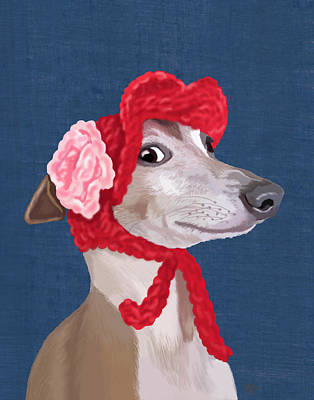 Greyhound Red Knitted Hat Art Print by Kelly McLaughlan