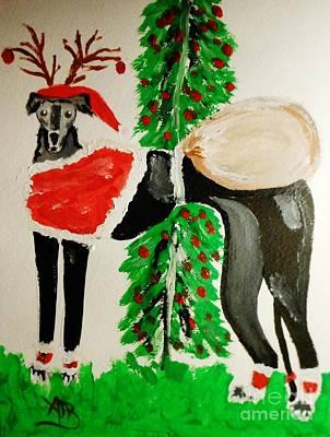 Greyhound Santa Art Print by Marie Bulger