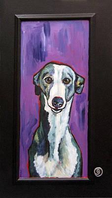 Painting - Greyhound With New Knob by Janet Burt