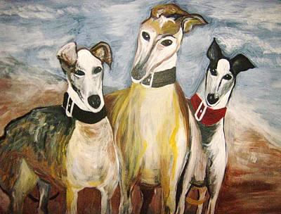 Greyhounds Art Print by Leslie Manley