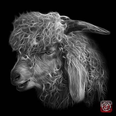 Digital Art - Greyscale Angora Goat - 0073 F by James Ahn