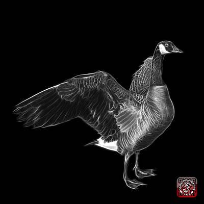 Mixed Media - Greyscale Canada Goose Pop Art - 7585 - Bb  by James Ahn
