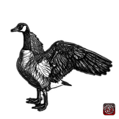 Art Print featuring the mixed media Greyscale Canada Goose Pop Art - 7585 - Wb by James Ahn