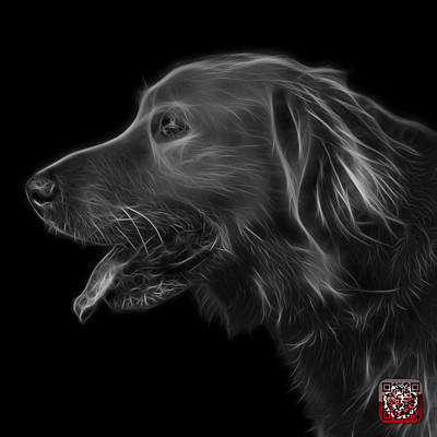 Retriever Digital Art - Greyscale Golden Retriever - 4047 F by James Ahn