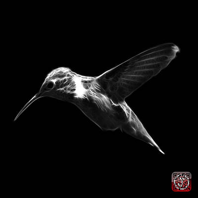 Digital Art - Greyscale Hummingbird - 2054 F by James Ahn