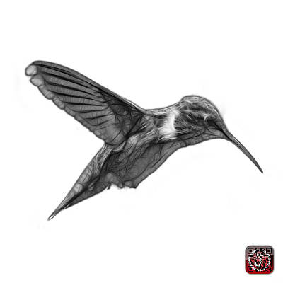 Digital Art - Greyscale Hummingbird - 2054 F S by James Ahn