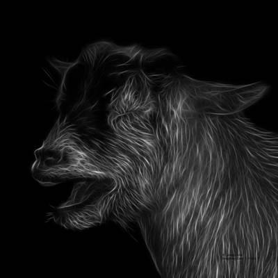 Animal Lover Digital Art - Greyscale Laughing Goat - 0312 F by James Ahn