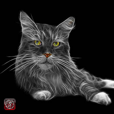 Painting - Greyscale Maine Coon Cat - 3926 - Bb by James Ahn