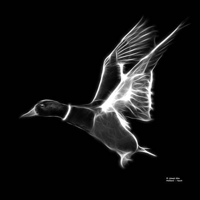 Mixed Media - Greyscale Mallard Pop Art - 7664 - Bb by James Ahn