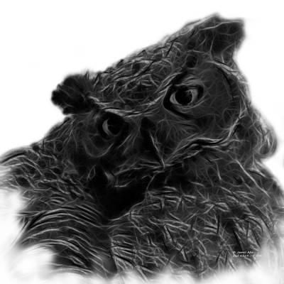 Animals Digital Art - Greyscale Owl 4229 - F S M by James Ahn